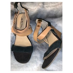 Kenneth Cole| wood and suede wedges size 5.5